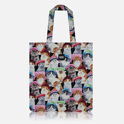 nother Cats in Hats Flat Tote / 나더 고양이 패턴 플랫 토트백