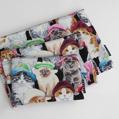 nother Cats in Hats Pouch / 나더 고양이 패턴 면 파우치